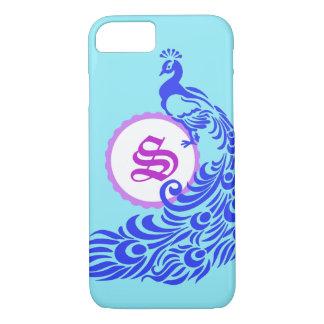 Blue Peacock with Purple Monogram iPhone Case