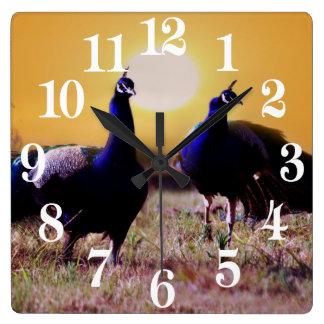 Blue peacocks square wall clock