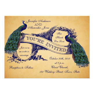 Blue Peacocks Vintage Wedding Invitations