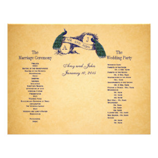 Blue Peacocks Vintage Wedding Program Flyer