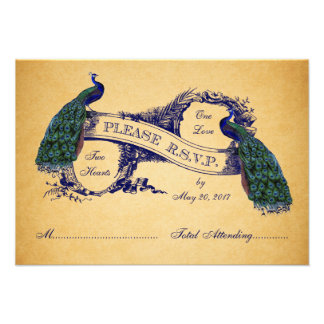 Blue Peacocks Vintage Wedding RSVP CARD Personalized Invite