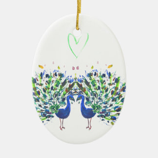 Blue peacocks with love heart watercolour christmas ornament