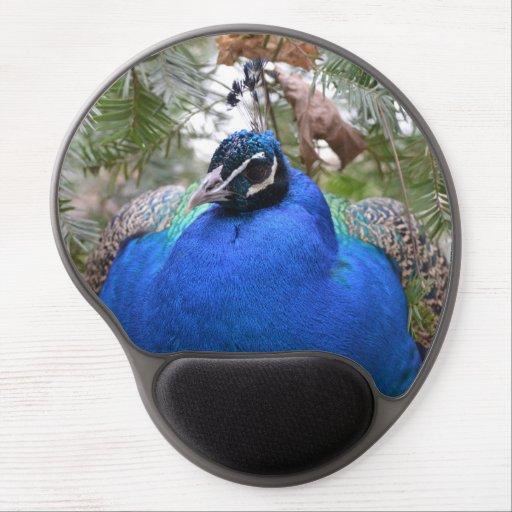Blue Peafowl Bird Gel Mouse Mats