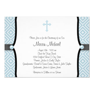Blue Pearl Cross Black Blue Christening Card
