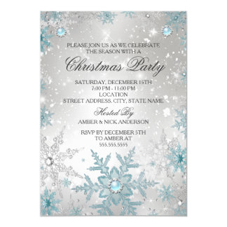 Blue Pearl Crystal Snowflake Christmas Party Card