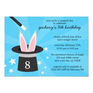 Blue Peek-a-Boo Rabbit Custom Magic Birthday Party 13 Cm X 18 Cm Invitation Card