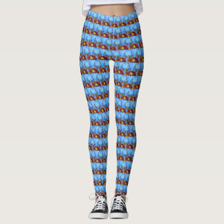 Blue Peekaboo Reindeer Leggings