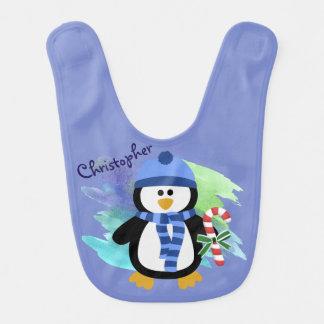 Blue Penguin Christmas Bib