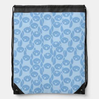 Blue penguins pattern background drawstring bag