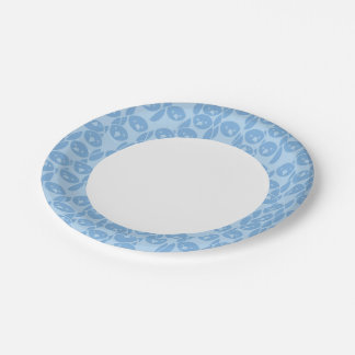 Blue penguins pattern background paper plate