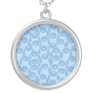 Blue penguins pattern background silver plated necklace