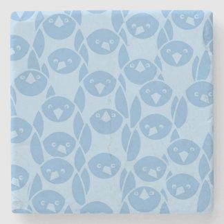 Blue penguins pattern background stone beverage coaster