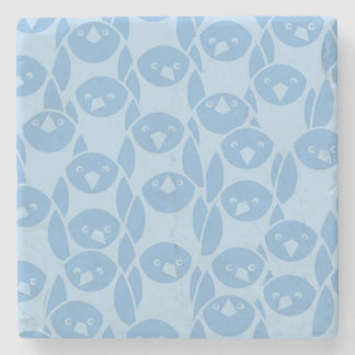 Blue penguins pattern background stone coaster