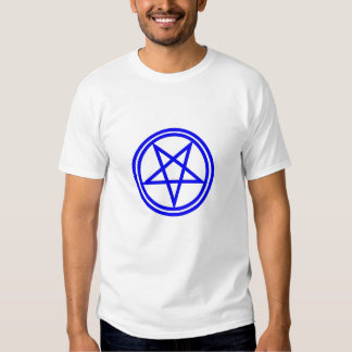 blue pentagram in double circle on white tee shirts