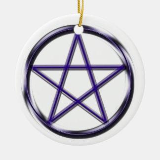 Blue Pentagram Round Ceramic Decoration