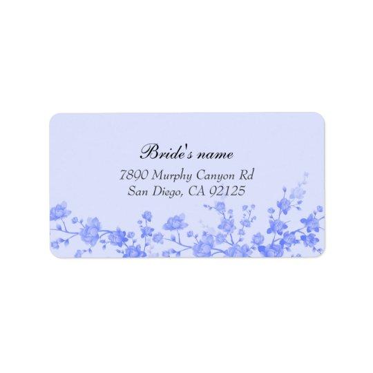 Blue Peony Blossom address label
