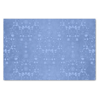 """Blue Periwinkle Fancy Floral Damask Style 10"""" X 15"""" Tissue Paper"""