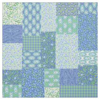 Blue Periwinkle Floral Boho Faux Patchwork Pattern Fabric
