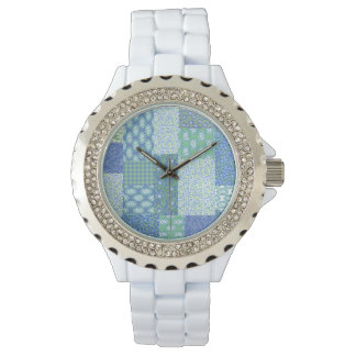Blue Periwinkle Floral Boho Faux Patchwork Pattern Watch