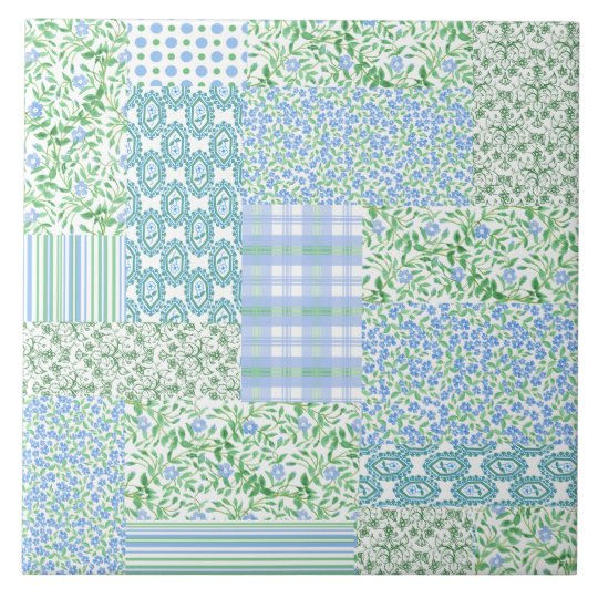 Blue Periwinkle Flowers Vintage Faux Patchwork Large Square