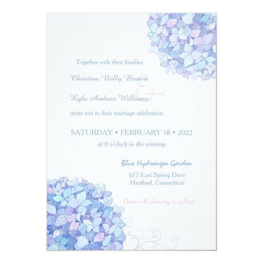 Blue Periwinkle Hydrangeas Garden Wedding Card