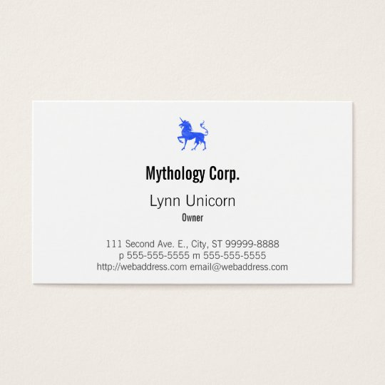 Blue (Periwinkle) Unicorn Business Card