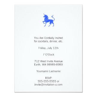 Blue (Periwinkle) Unicorn 11 Cm X 14 Cm Invitation Card
