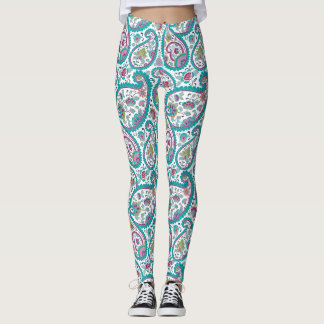 Blue Persian Boteh Paisley Pattern Yoga Leggings