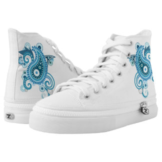 Blue Persian Flower High Tops