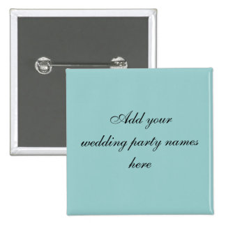 Blue Persnalized Wedding Party Name Pins