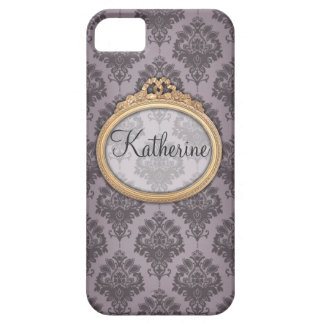Blue personalisable damask pattern iPhone 5 covers