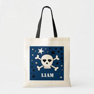 Blue Personalizable Cute Skull Crossbone and Stars Tote Bag