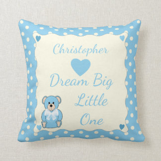 Blue Personalized baby name Teddy Bear Cushion