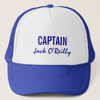 Blue Personalized Captain Trucker Hat