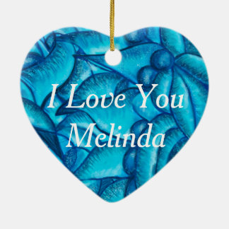 Blue Personalized I Love You Heart Pendant Christmas Ornament