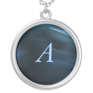 Blue Personalized Monogram Round Pendant Necklace