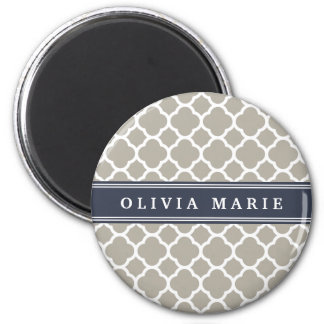 Blue Personalized Name Grey Quatrefoil Pattern 6 Cm Round Magnet
