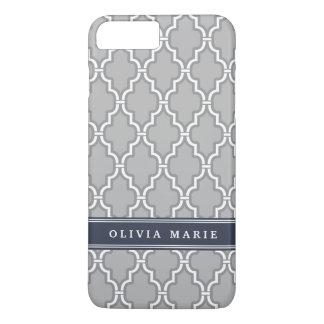 Blue Personalized Name Grey Trellis Pattern iPhone 8 Plus/7 Plus Case