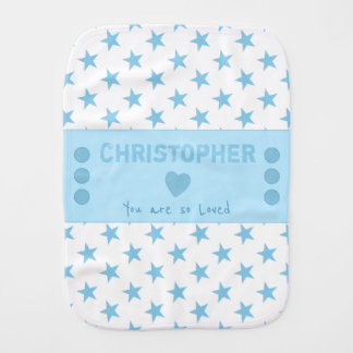 Blue Personalized name white stars Burp Cloth