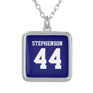 Blue Personalized Sports Name Number Pendant