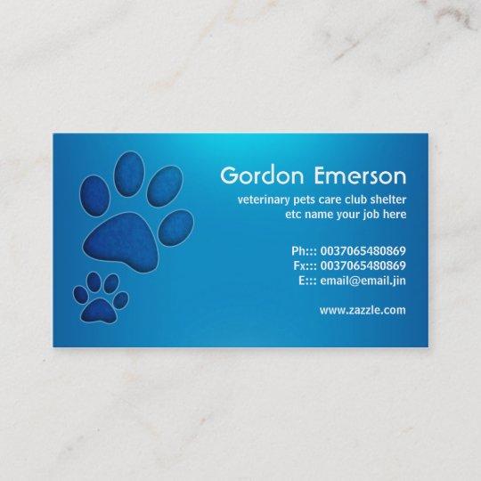 Blue Pet Care Veterinary Business Cards Zazzle