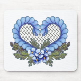 Blue Petal Heart with mesh Mouse Pad