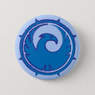 Blue phoenix bird emblem badge