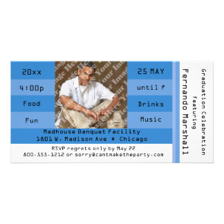 Blue Photo Admission Ticket Party Invitation Customised Photo Card