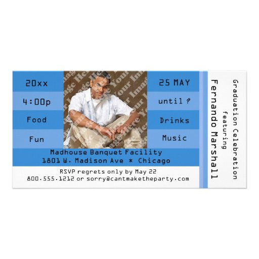 Blue Photo Admission Ticket Party Invitation Photo Card Template