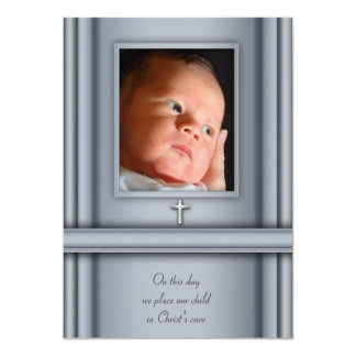 Blue Photo Baby Boy Christening Invitations