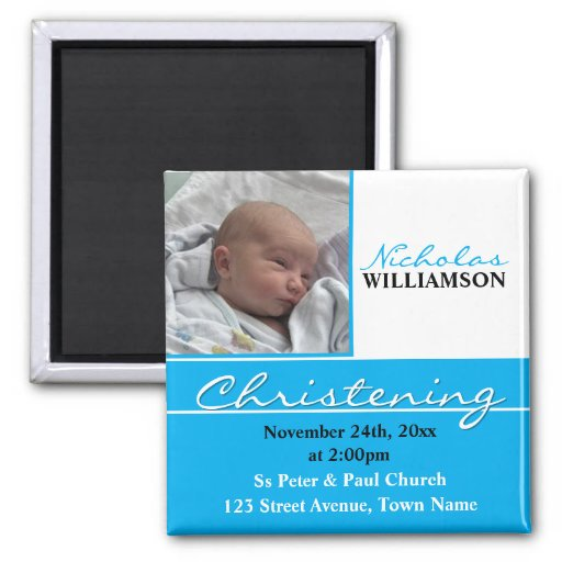 Blue Photo Christening or Baptism Invitation Magnets