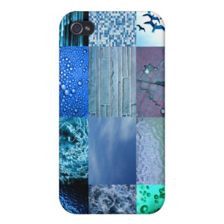 Blue Photo Collage Case For iPhone 4