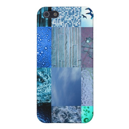 Blue Photo Collage Cases For iPhone 5