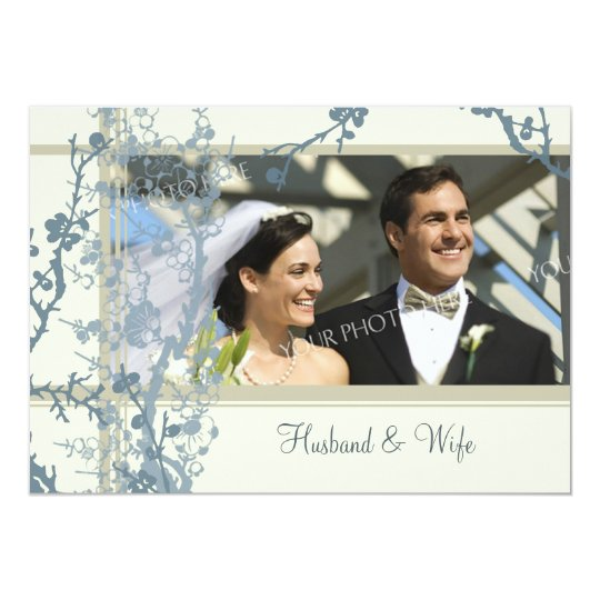 Blue Photo Vow Renewal Ceremony Invitation Card